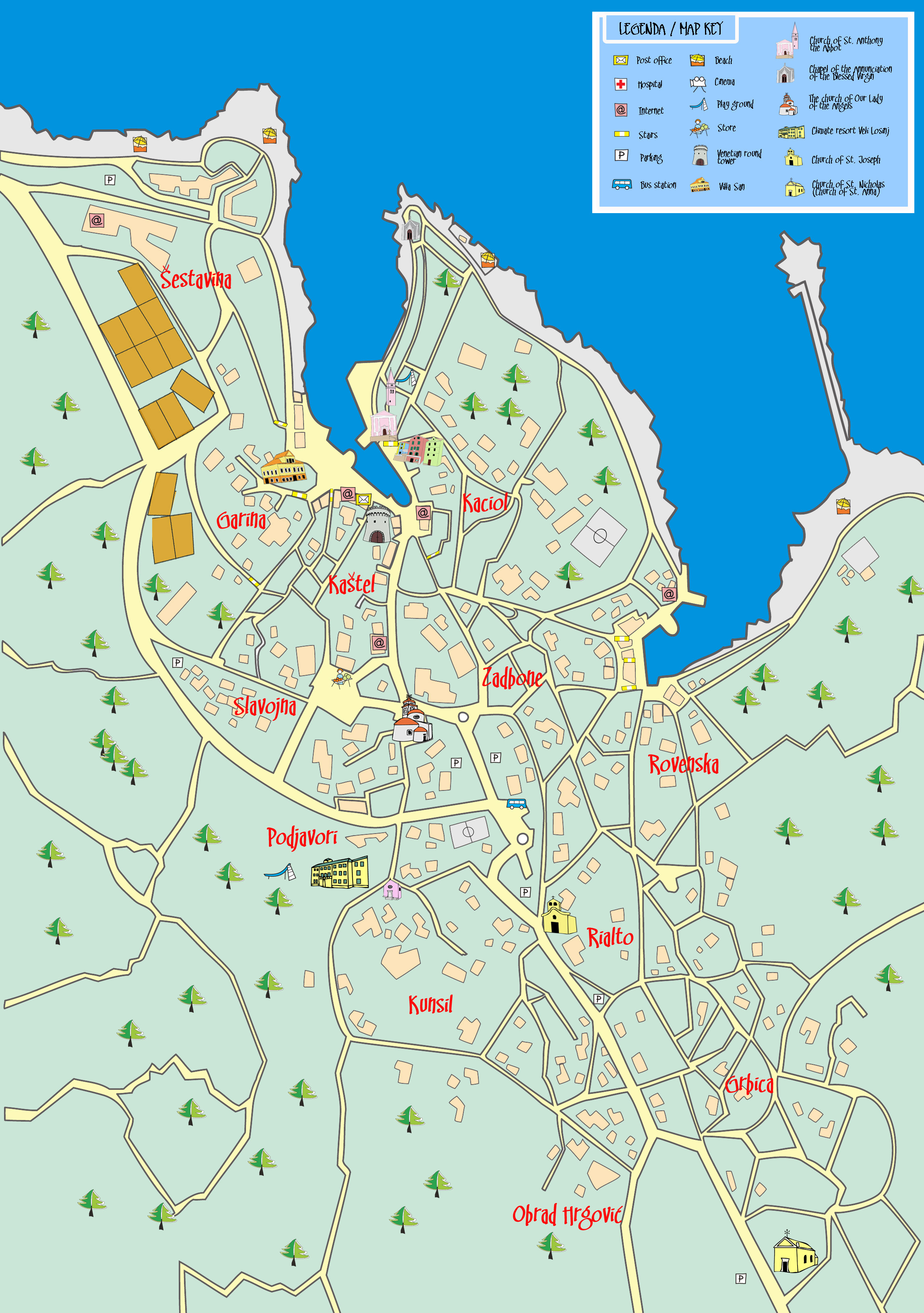 Veli Losinj Beaches Veli Losinj Town Map